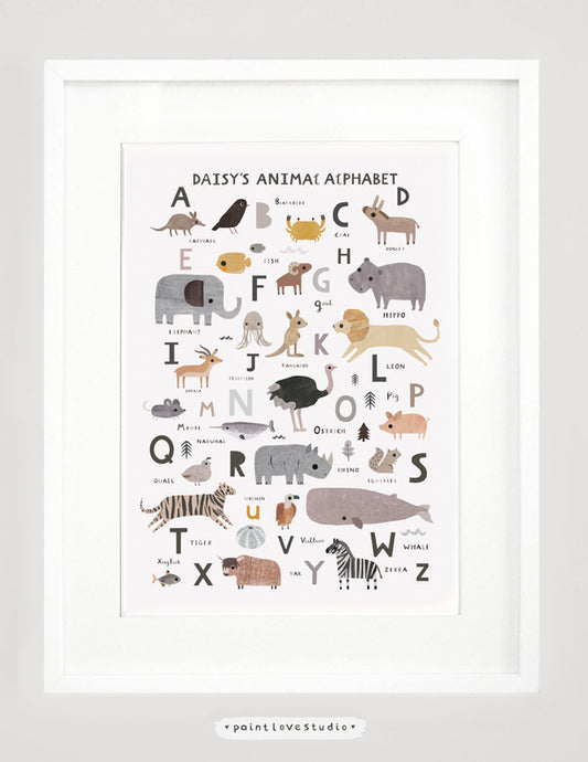 Personalised Neutral Animal Alphabet Print