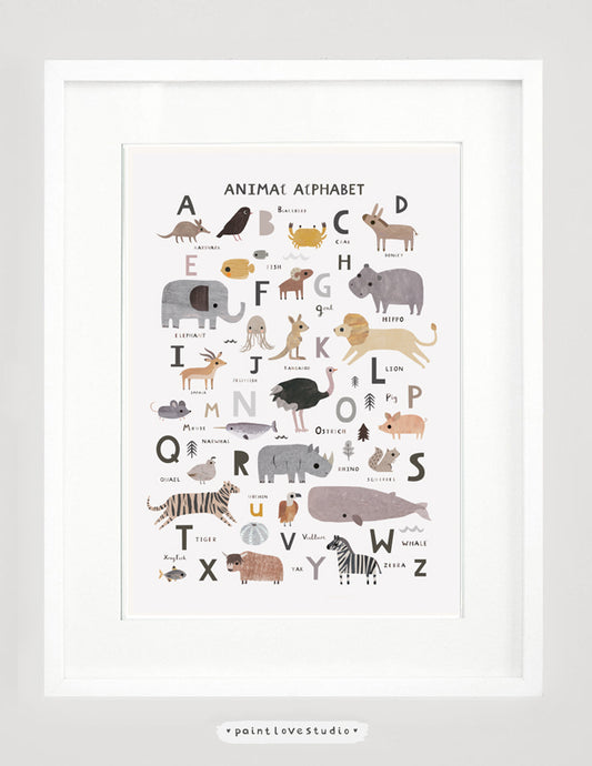 Neutral Animal Alphabet Print