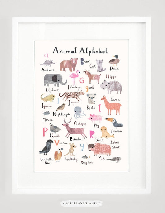 Alphabet print, animal alphabet print, nursery decor, nursery wall art, kids room decor, alphabet art print, alphabet letter print