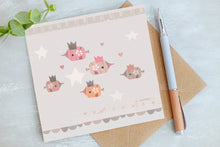 Load image into Gallery viewer, Versatile Whimsical Fish in Crowns Card - Birthday Card - Blank Greetings Card