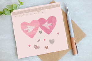 Heart Birds - Valentine Card - Blank Greetings Card