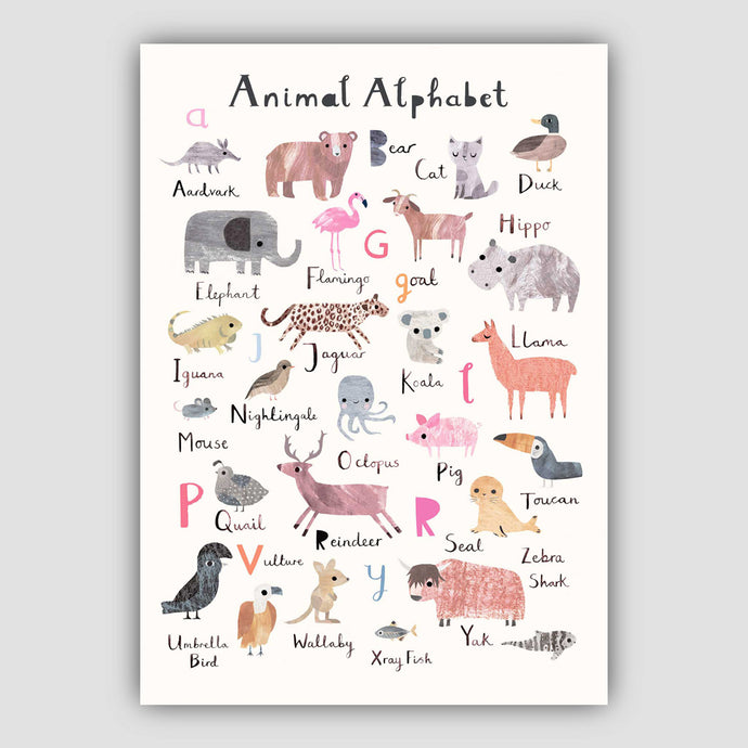 Digital Download Animal Alphabet Print - Portrait Format
