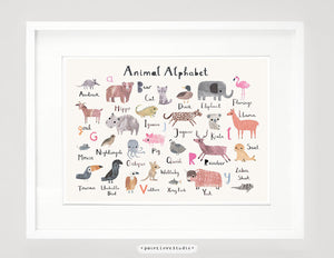 Animal Alphabet Nursery Print - Landscape Format