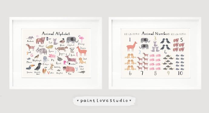 Set of 2 Nursery Prints - Any 2 of the same size prints