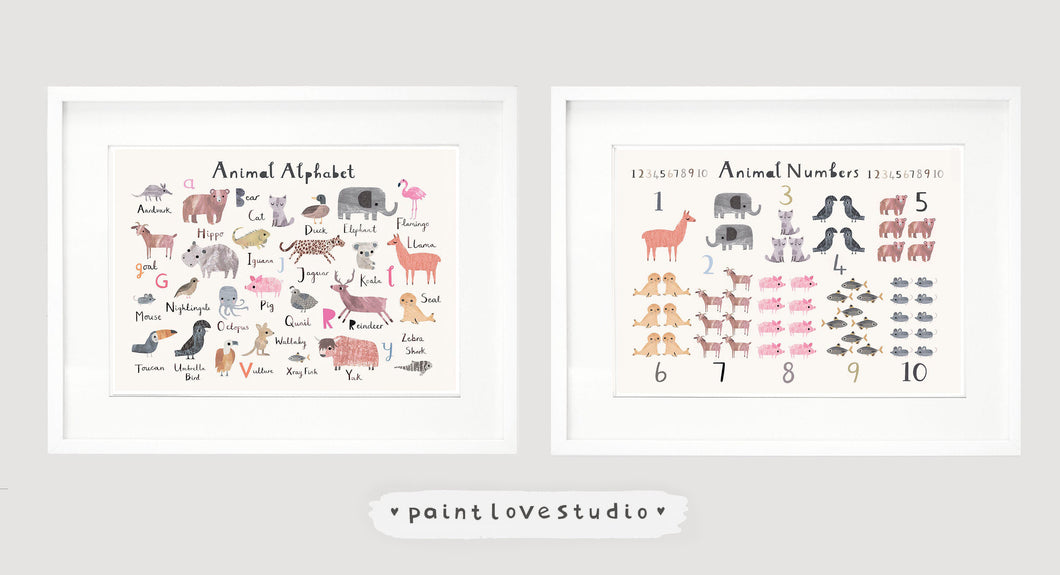 Set of 2 Nursery Prints - Animal Alphabet Print - Number Print - Landscape