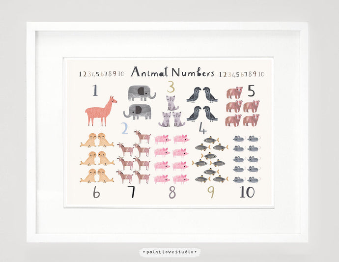 Animal Counting Print - Landscape Format
