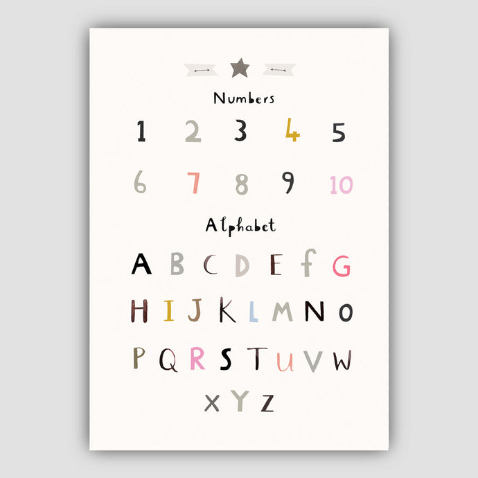 Digital Download - Alphabet Print - Number Poster Print - Portrait Format