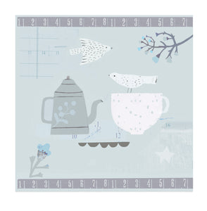 Blue Tea - Blank Greetings Card