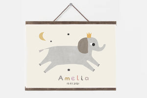 Personalised elephant nursery print