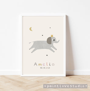 Personalised elephant nursery print - portrait