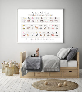 New Animal Alphabet Nursery Print - Landscape