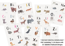 Load image into Gallery viewer, Digital Download  - Animal ABC - A6 Smaller Printable Alphabet Flashcards