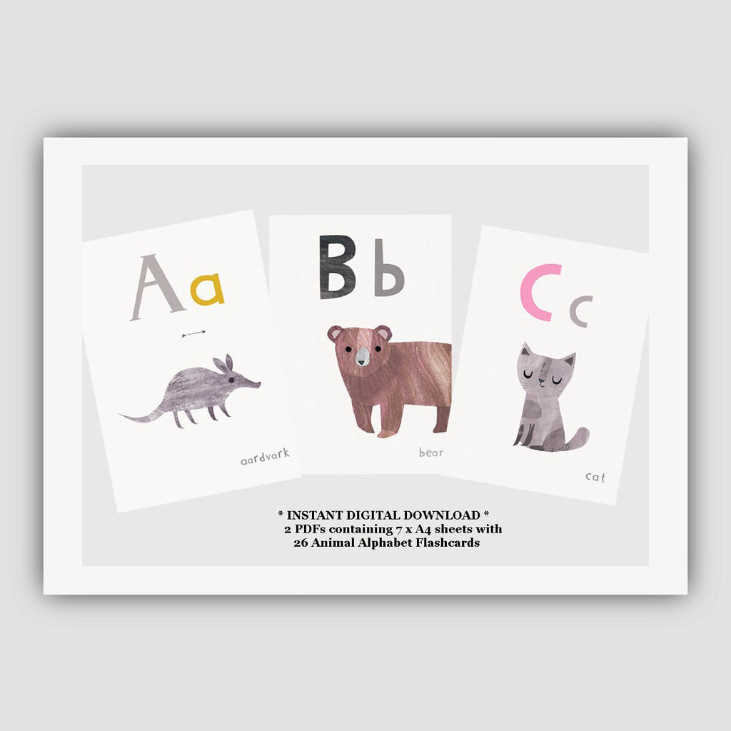 Digital Download  - Animal ABC - A6 Smaller Printable Alphabet Flashcards