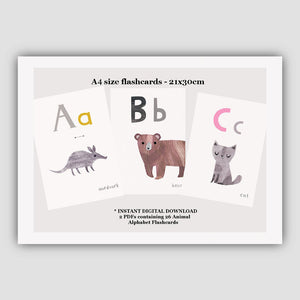 Digital Download  - Animal ABC Flashcards - A4 Larger