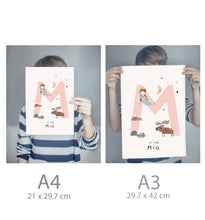 Load image into Gallery viewer, Personalised Initial Girls Name Nursery Prints