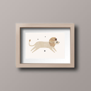 Whimsical lion wall art print - Nursery Print
