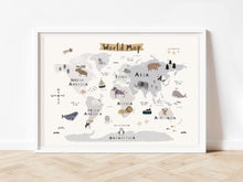 Load image into Gallery viewer, Educational map of the world with animals homes