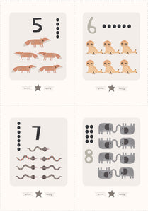 Digital Download  - Animal Counting - A6 Smaller Printable Number Flashcards