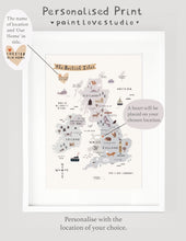 Load image into Gallery viewer, Personalised British Isles map print