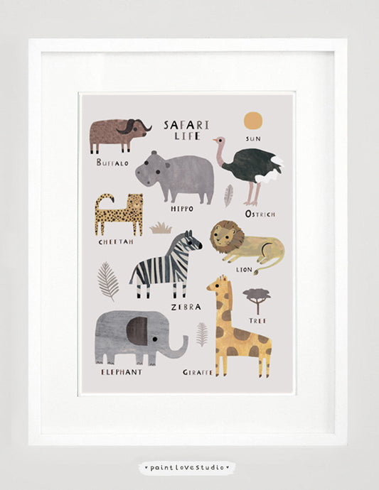 Safari Animal Nursery Print Decor
