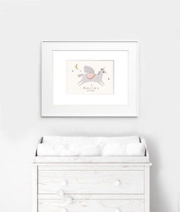 Personalised unicorn nursery print