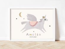 Load image into Gallery viewer, Personalised unicorn nursery print