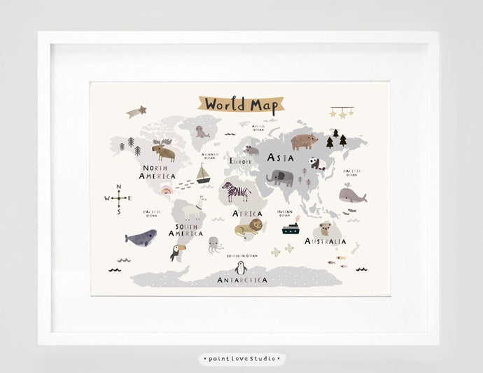 Kids world map art print