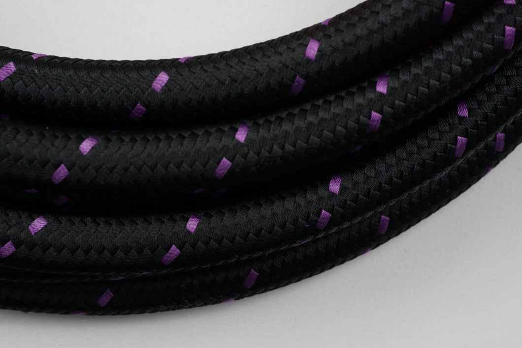 PTFE lined Black Nylon with Purple Checks braided hose - AN6, AN8