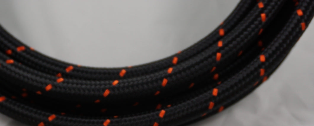 PTFE lined Black Nylon with Orange Checks braided hose - AN6, AN8, AN10