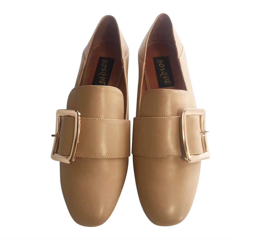 Collapsable Heel Loafers in Beige