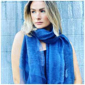 Venice Wool and Organza Scarf - Blue