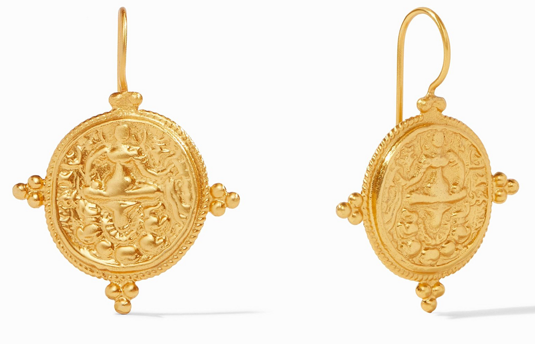Coin gold-plated earrings