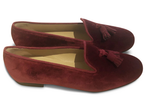 Velvet Smoking Loafer - Burgundy