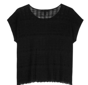Eileen Fisher Sheer Hemp Shadow Plaid Jewel Neck Top