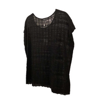 Load image into Gallery viewer, Eileen Fisher Sheer Hemp Shadow Plaid Jewel Neck Top