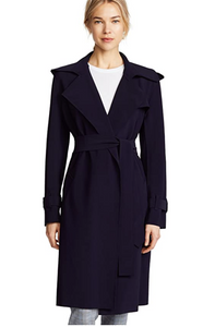 Norma Kamali Double Breasted Trench Blue