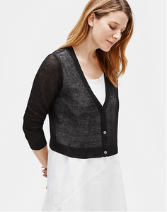 Eileen Fisher Lightweight  Linen Crepe Cropped Cardigan