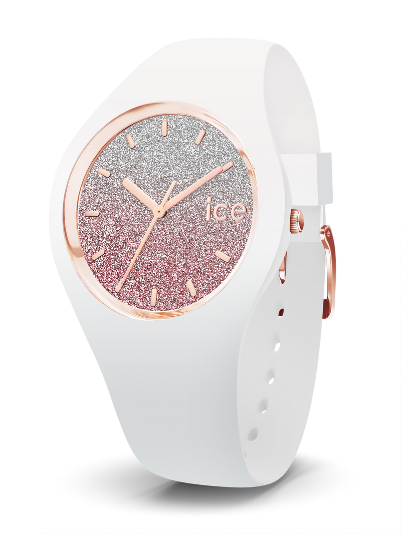ICE WATCH Lo Collection Rose Gold Case 34mm (S) White Pink Dial White Strap