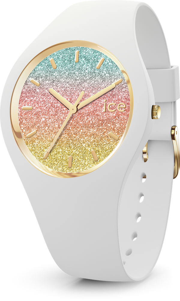 ICE WATCH Lo Collection Gold Case 34mm (S) Rainbow Dial White Strap