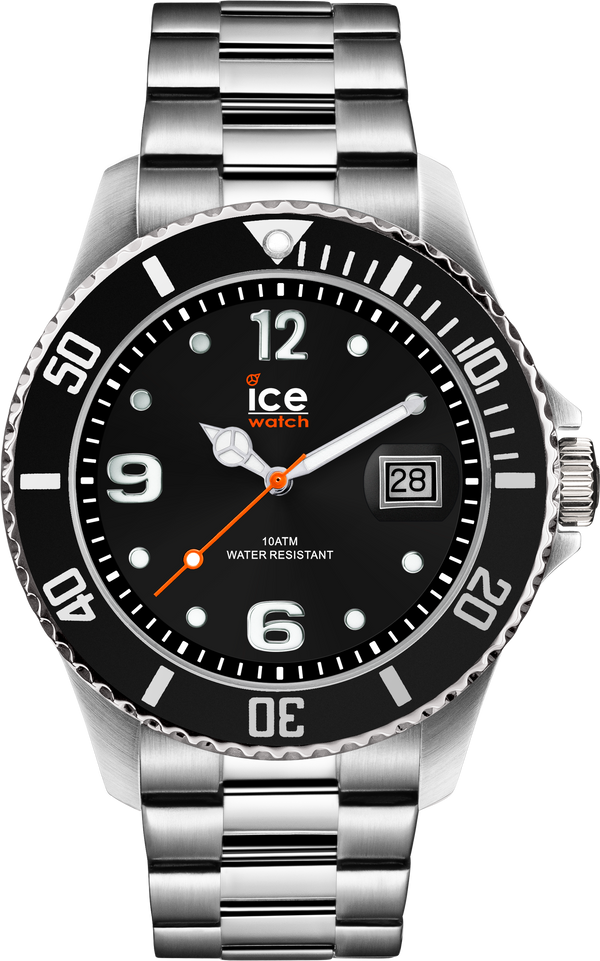 ICE WATCH Steel Collection Black Case 44mm (L) Black Dial Silver Strap