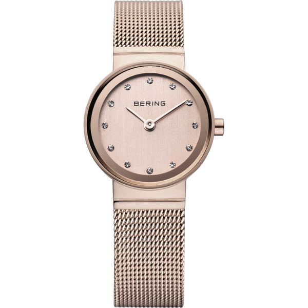 Bering Classic Brushed Gold Mesh Swarovski Watch