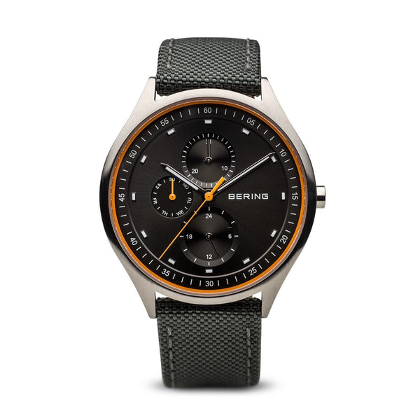 Bering Titanium Brushed Silver Nato Black Watch