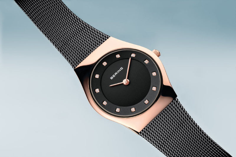 Bering Classic Polished Rose Gold Black Watch