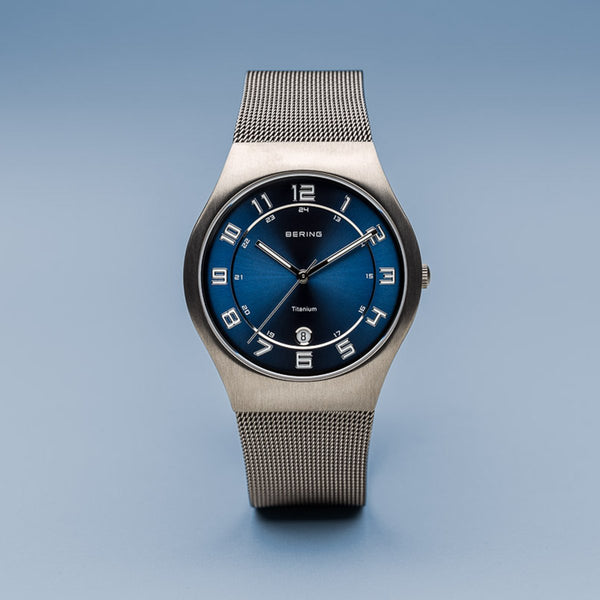 Bering Classic Brushed Grey Silver Mesh Watch