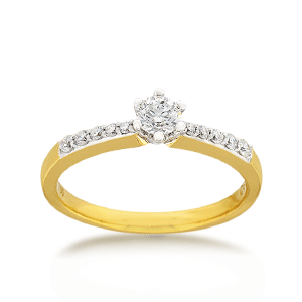 18ct Yellow Gold Brilliant-cut 0.37ct TDW Diamond Shoulder Solitaire Engagement Ring