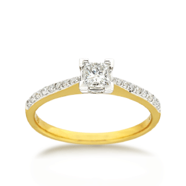 18ct Yellow Gold Brilliant-cut 0.51ct TDW Diamond Shoulder Solitaire Engagement Ring