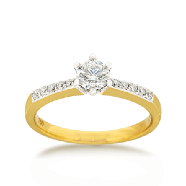 18ct Yellow Gold Brilliant-cut 0.52ct TDW Diamond Shoulder Solitaire Engagement Ring