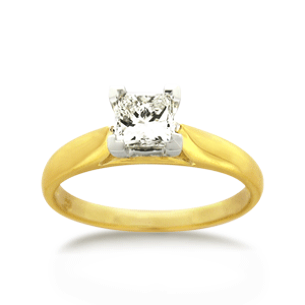 18ct Yellow Gold Princess-cut 0.50ct Diamond Solitaire Engagement Ring