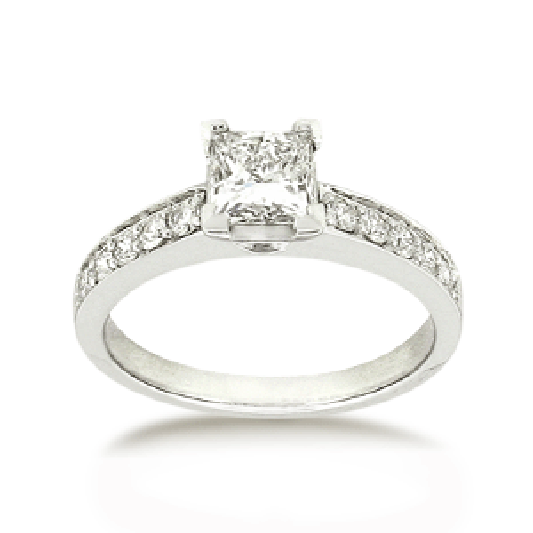 18ct White Gold Princess-cut 0.77ct TDW Diamond Shoulder Solitaire Engagement Ring