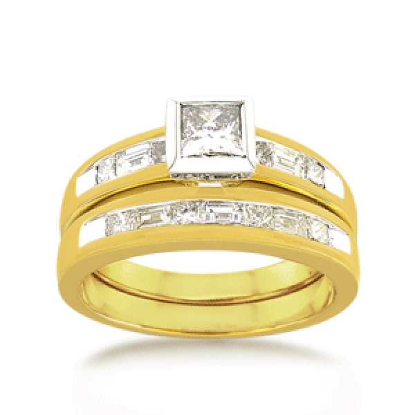 18ct Yellow Gold Princess-cut 1.0ct TDW Diamond Bridal Ring Set